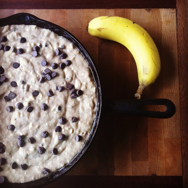 Cast Iron Skillet Chocolate Chip Banana Bread Recipe Batter