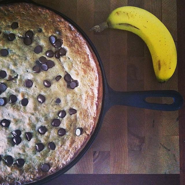 Cast Iron Skillet Chocolate Chip Banana Bread Recipe