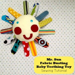Mr Sun Fabric Buster Baby Teething Toy Tutorial from Sew Creative Blog