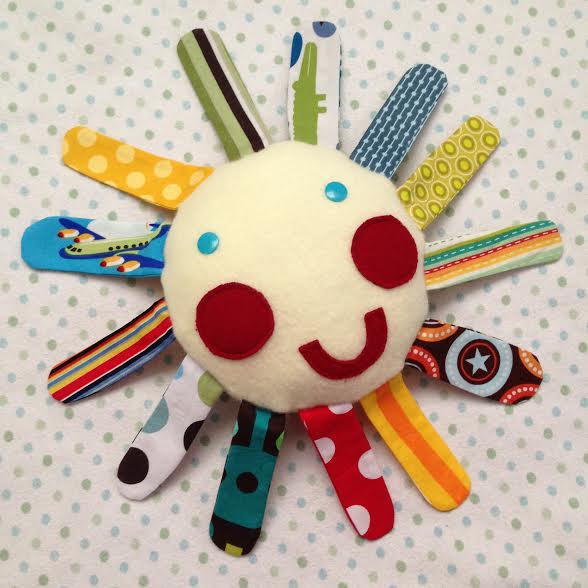 Mr Sun Fabric Scrap Busting Baby Teething Toy Tutorial from Sew Creative Blog