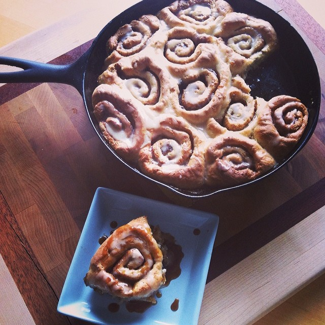 Oooey Gooey Caramel Skillet Cinnamon Rolls Recipe from Sew Creative 2