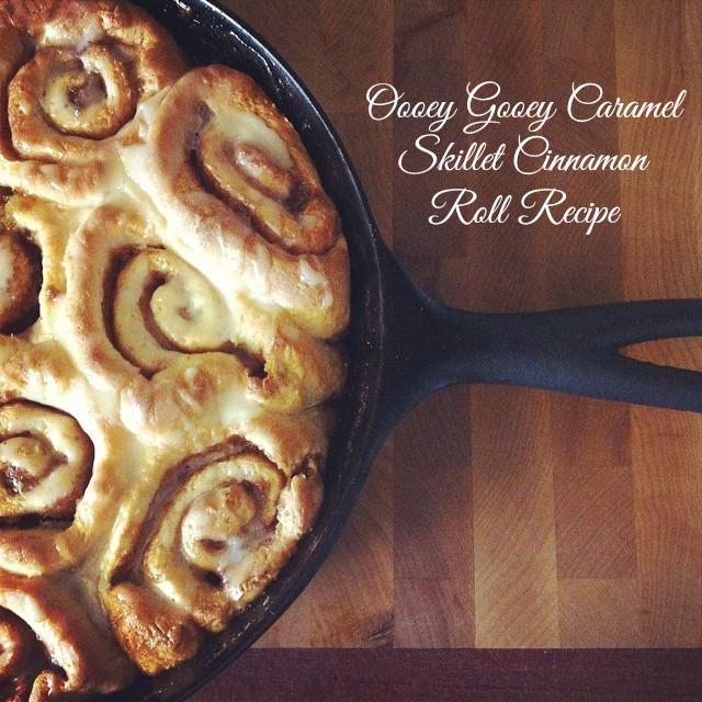 Oooey Gooey Caramel Skillet Cinnamon Rolls Recipe from Sew Creative.jpg