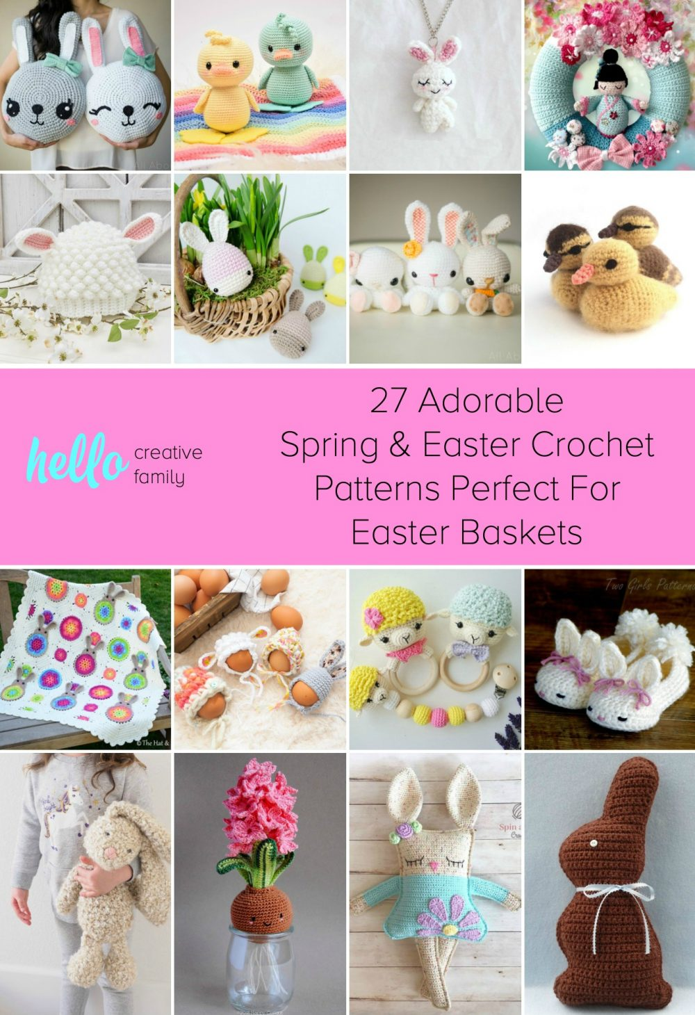 Stuff those Easter Basket with Non-Candy Handmade Gifts! We're sharing 27 Spring and Easter Crochet Patterns that your family will love! Adorable ideas for all levels from beginner crocheters to advanced! #Easter #Crochet #Craft #CrochetPatterns