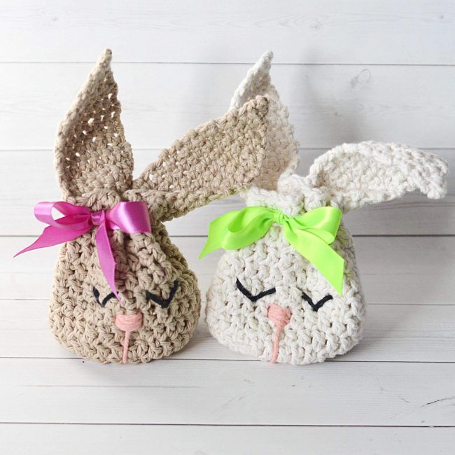 Adorable Spring and Easter Crochet Patterns Perfect For Easter Baskets: Bunny Treat Bag Crochet Pattern from Miss Mary MAC Design