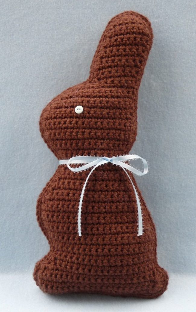Adorable Spring and Easter Crochet Patterns Perfect For Easter Baskets: Choclate Bunny Crochet Pattern From Whiskers and Wool