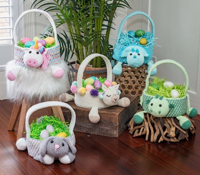 Adorable Spring and Easter Crochet Patterns Perfect For Easter Baskets: Crocheted Easter Basket Collection Patterns from Briana K Designs