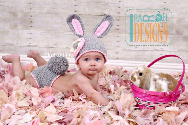Adorable Spring and Easter Crochet Patterns Perfect For Easter Baskets: Easter Bunny Baby Hat and Diaper Cover Crochet Pattern from IRAROTT Patterns