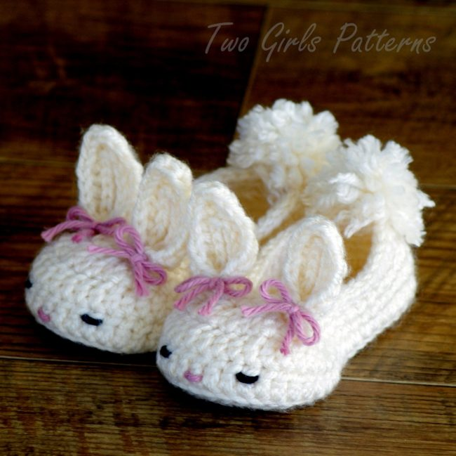 Adorable Spring and Easter Crochet Patterns Perfect For Easter Baskets: Easter Bunny Slippers Crochet Pattern from Two Girls Patterns