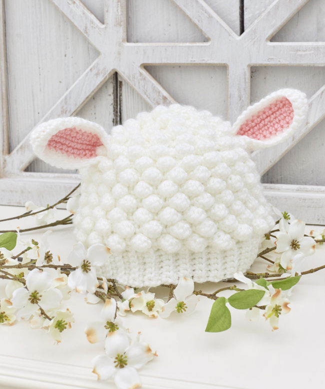 Crocheted Lamb Hat Pattern From Red Heart