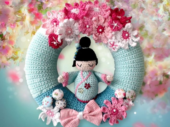 Adorable Spring and Easter Crochet Patterns Perfect For Easter Baskets: Spring Cherry Blossoms Crocheted Wreath Pattern from Petra Patterns