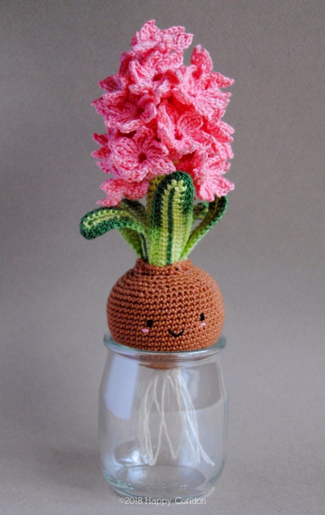 Adorable Spring and Easter Crochet Patterns Perfect For Easter Baskets: Spring Hyacinth Flowers and Bulb Crochet Pattern from Happy Coridon