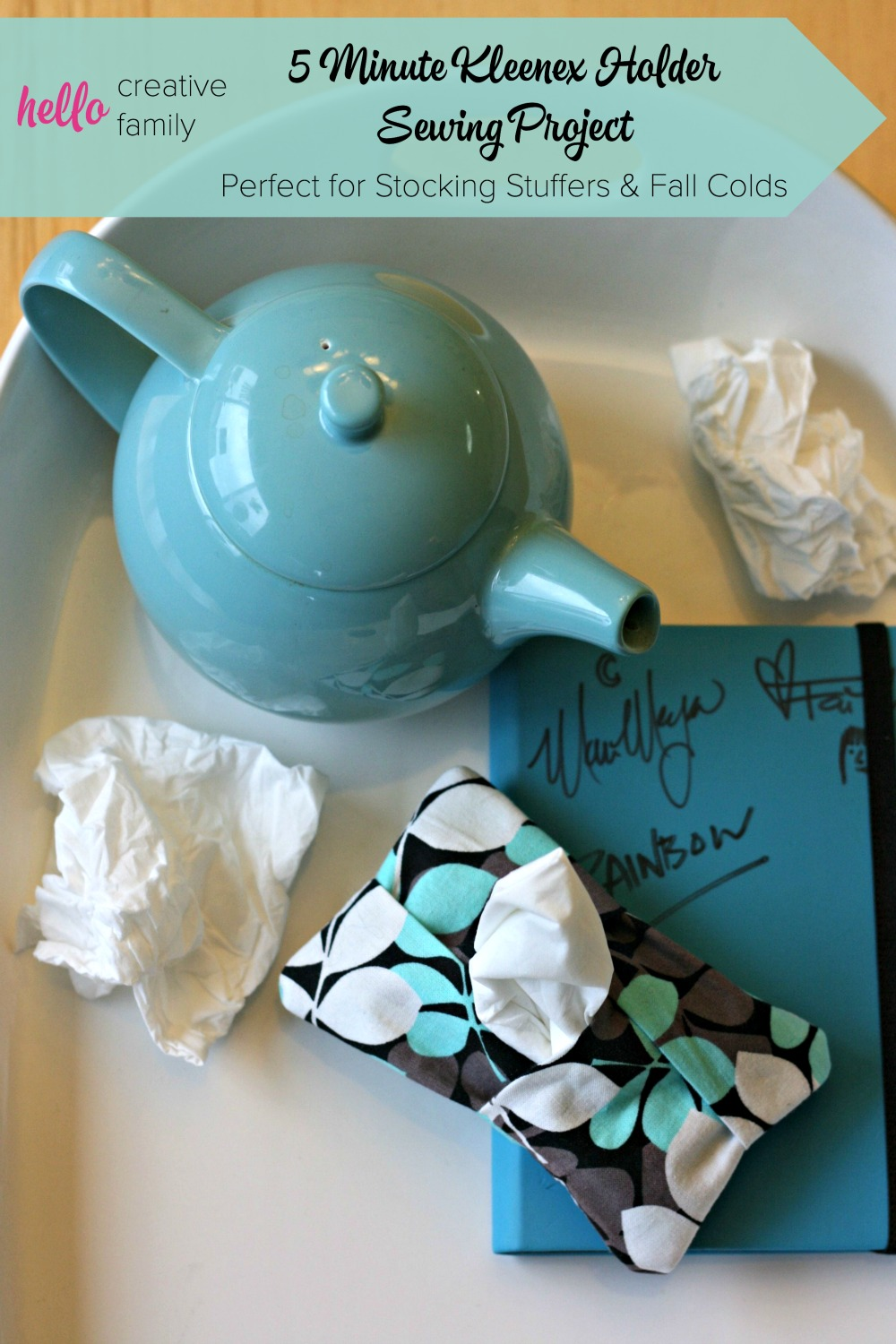 5 minute tissue holder sewing project would make a great teacher gift, stocking stuffer or handmade gift idea. A great fabric scrap project for cold & flu season.