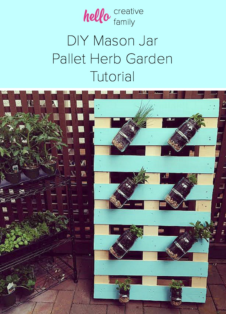 DIY Pallet Mason Jar Herb Garden Tutorial. This post has step by step instructions and tons of photos. A great weekend project for the whole family.