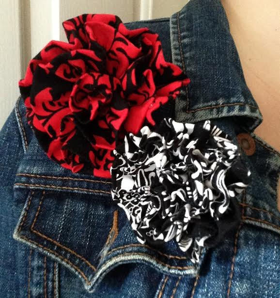 Oh Sew Easy 10 Minute Fabric Flower Tutorial No Sewing Machine Required on jacket