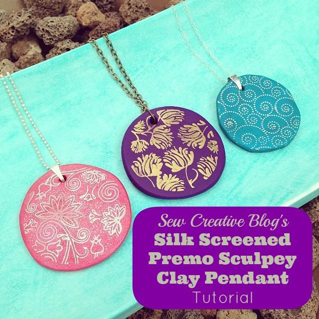 Silk Screened Premo Sculpey Clay Pendant Tutorial. So easy children can make them too