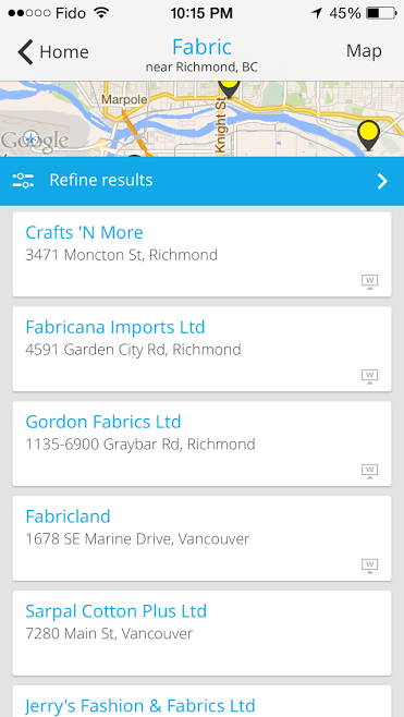 YP App searching for Fabric Stores in Vancouver 2