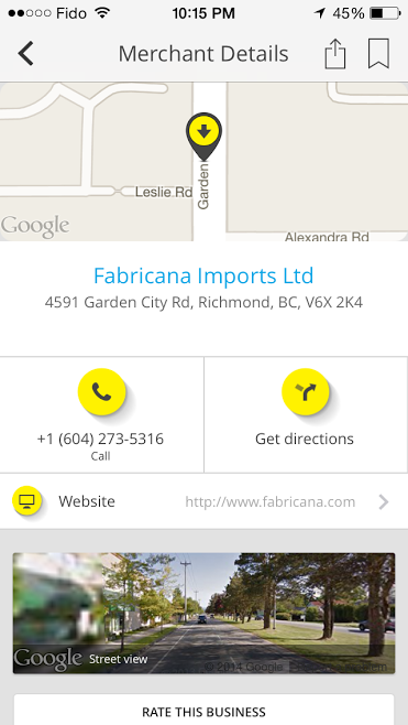 YP App searching for Fabric Stores in Vancouver 3