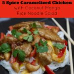 5 Spice Caramel Chicken with Coconut Rice Noodle Salad Recipe a fresh summer family favorite from Sew Creative