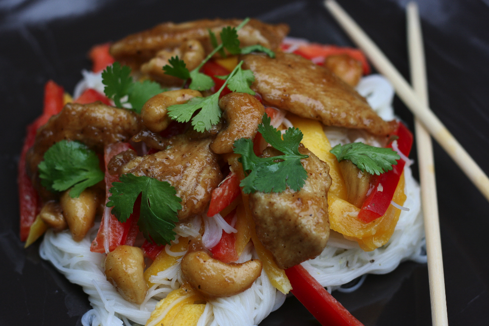 5 Spice Caramel Chicken with Coconut Rice Noodle Salad Recipe a fresh summer family favorite
