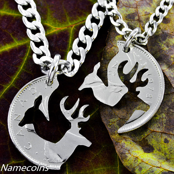 Buck and Doe Canadian Quarter Necklace