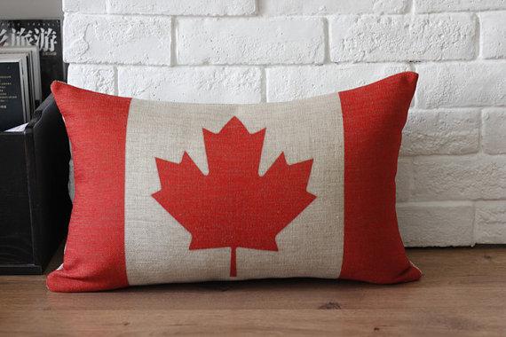 Canada Flag Linen Throw Pillow