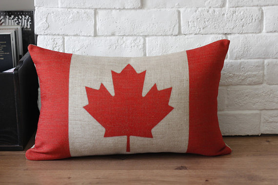 Canada Flag Linen Throw Pillow