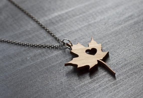 I heart Canada bamboo necklace