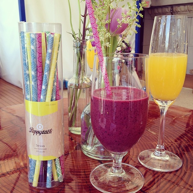 Dress up your mimosas and blueberry smoothies with beautiful Poppytalk for Target paper straws.