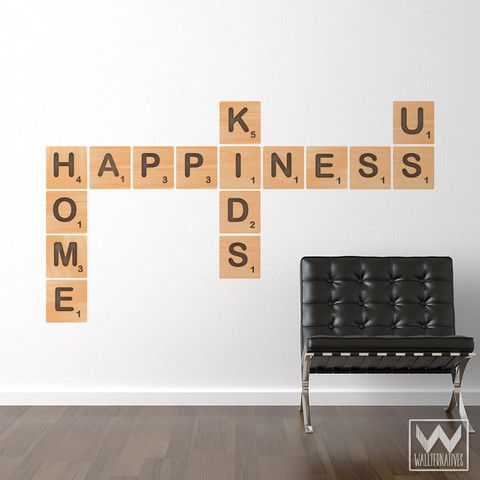 Scrabble Saying Alphabet Letter Tile Happiness Wall Print Fabric Decal