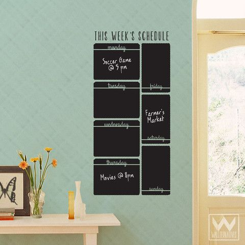 VERTICAL WEEK SCHEDULE CHALKBOARD VINYL WALL DECAL