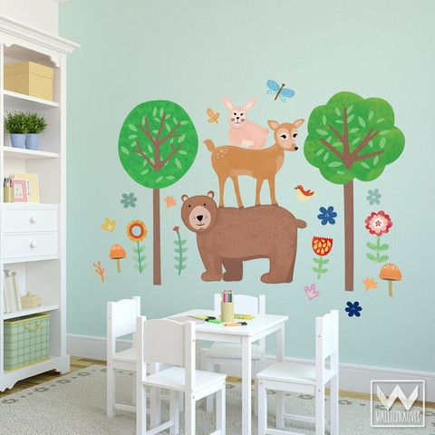 Woodland Critters Wall Prints Fabric Decal Set