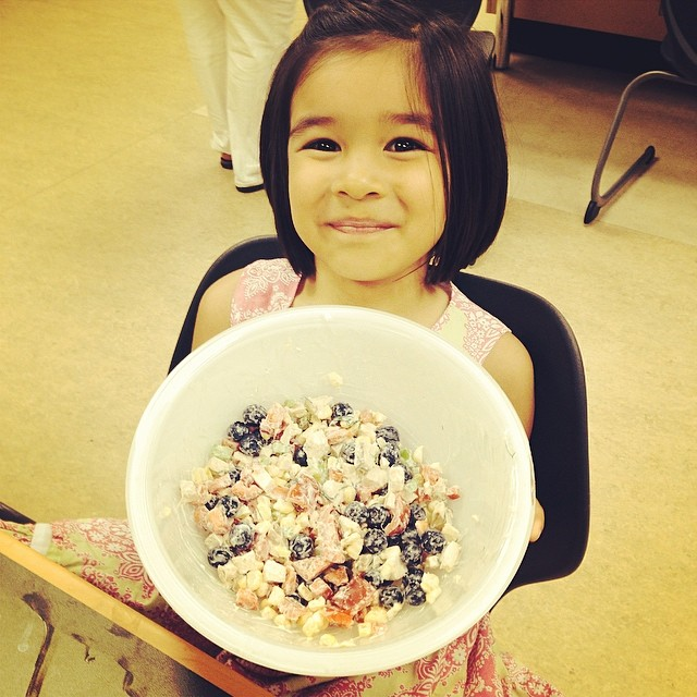 Bean with her Fresh Blueberry Corn and Chicken Salad