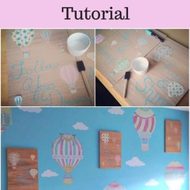 DIY Mod Podge Hot Air Balloon Inspirational Wall Art Up up and away, Rise and Shine and Follow Your Dreams
