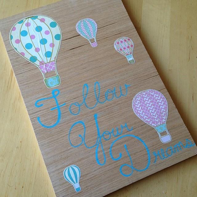 Follow Your Dreams Hot Air Balloon Wall Art