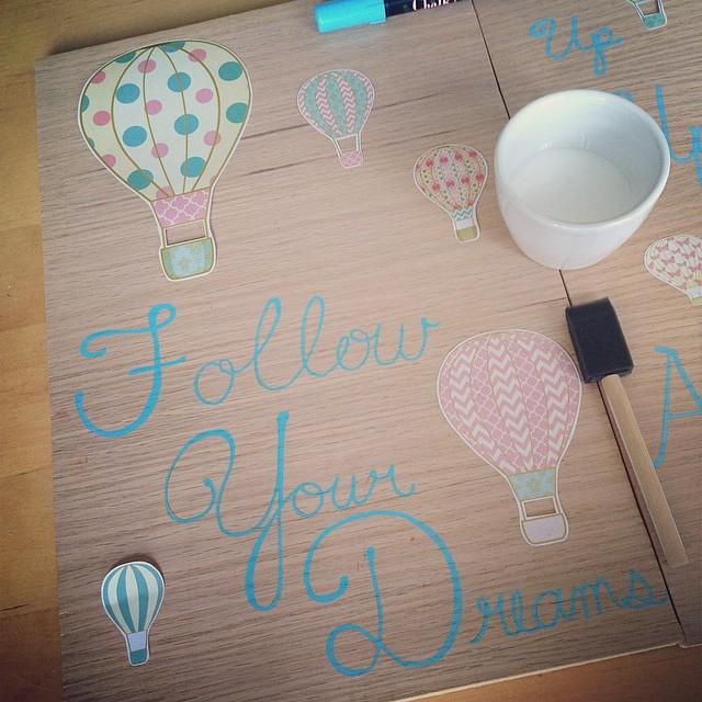 Hot Air Balloon Wall Art Follow Your Dreams & DIY Mod Podge Hot Air Balloon Inspirational Wood Wall Art - Hello ...