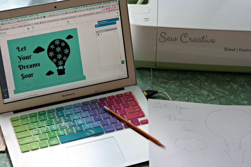 Designing the Cricut Design Space Star Let Your Dreams Soar Hot Air Balloon Laptop Decal