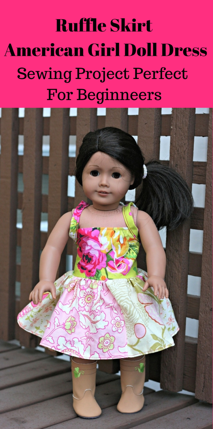 Ruffle Skirt American Girl Doll Dress Sewing Project Perfect For Beginners. I love this pattern because it can be adjusted for any size doll.