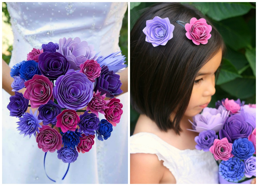 Beautiful Wedding Bouquet and Flower Girl Barrettes made from paper on the Cricut Explore.