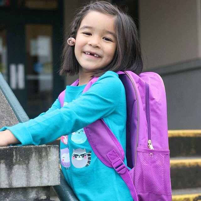 Big smiles (with missing front teeth) for the first day of school!