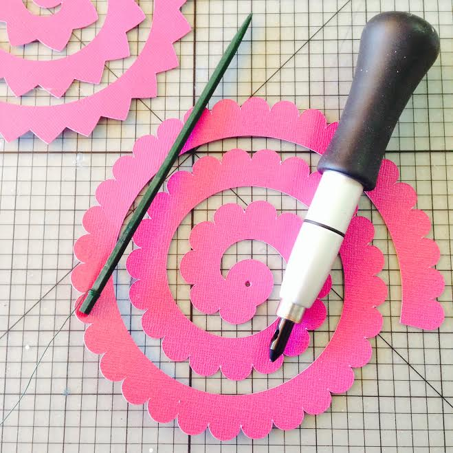 Diy paper wedding bouquet and matching flower girl barrettes hello cricut 3d flower with punch and pick mightylinksfo