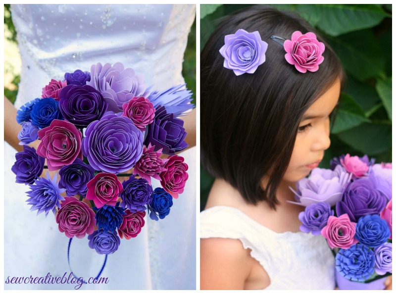 I have to try making this on my Cricut Explore for my Wedding! DIY Paper Bridal Bouquet and Matching Flower Girl Barrettes