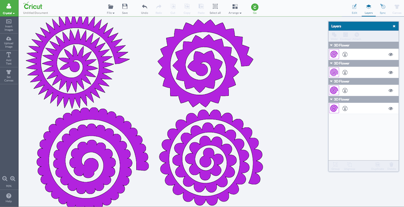 In Cricut Design Space search 3D Flowers. Pick your favorites and have ...