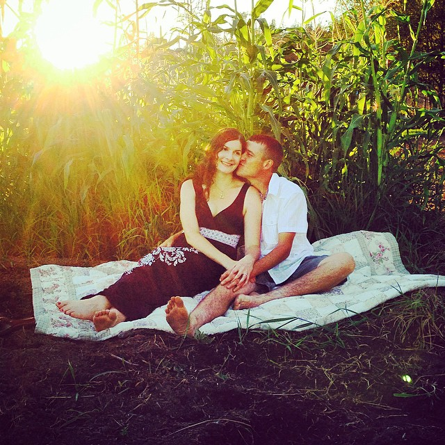 Sisser and her fiance Jimmy Jimster having engagement photos taken on their farm.
