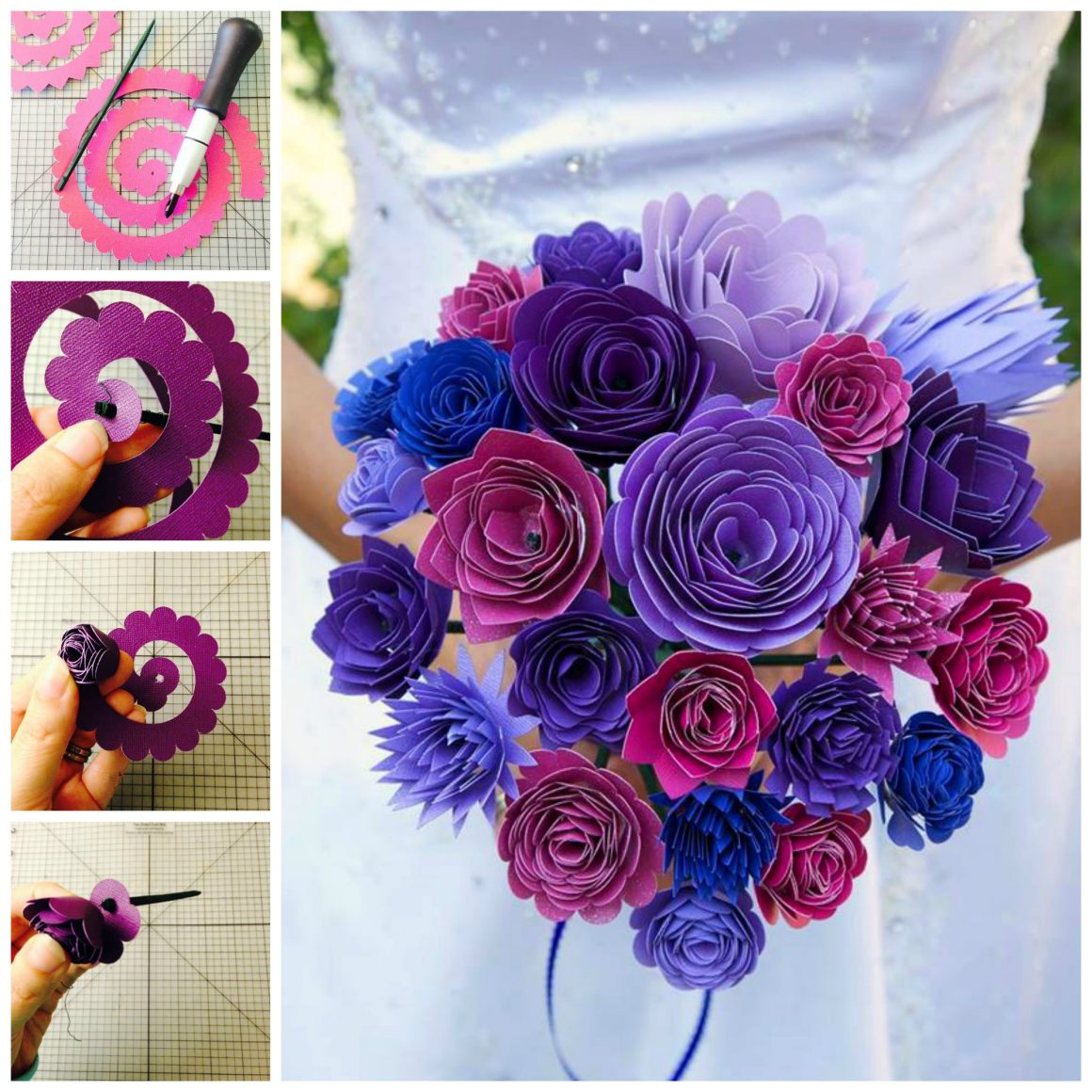 Diy paper wedding bouquet and matching flower girl barrettes create a gorgeous paper wedding bouquet perfect for a wedding shower rehearsal or even dhlflorist Image collections