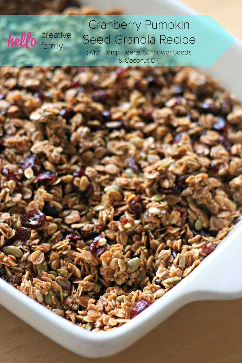 Cranberry Pumpkin Seed Granola Recipe with sunflower seeds, hemp hearts, coconut and coconut oil. A delicious, nutritious and easy breakfast idea.