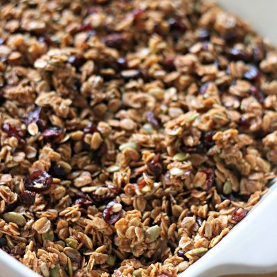 Cranberry Pumpkin Seed Granola Recipe with Hemp Hearts, Sunflower Seeds and Coconut Oil