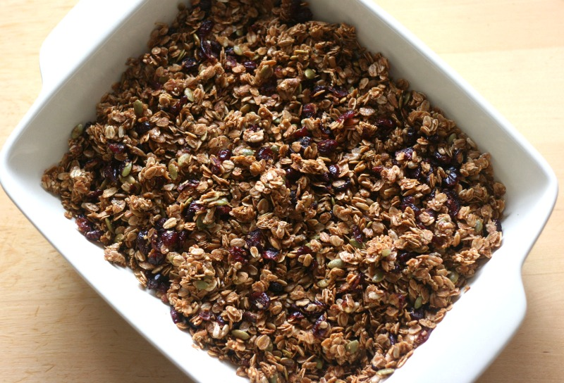 Cranberry Pumpkin Seed Granola Recipe with sunflower seeds, hemp hearts, coconut & coconut oil. Delicious, nutritios and easy. My kind of recipe!