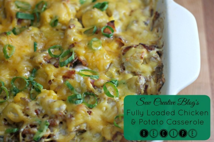 Fully Loaded Chicken and Potato Casserole Recipe. An easy and delicious family dinner recipe that kids and adults both will love!