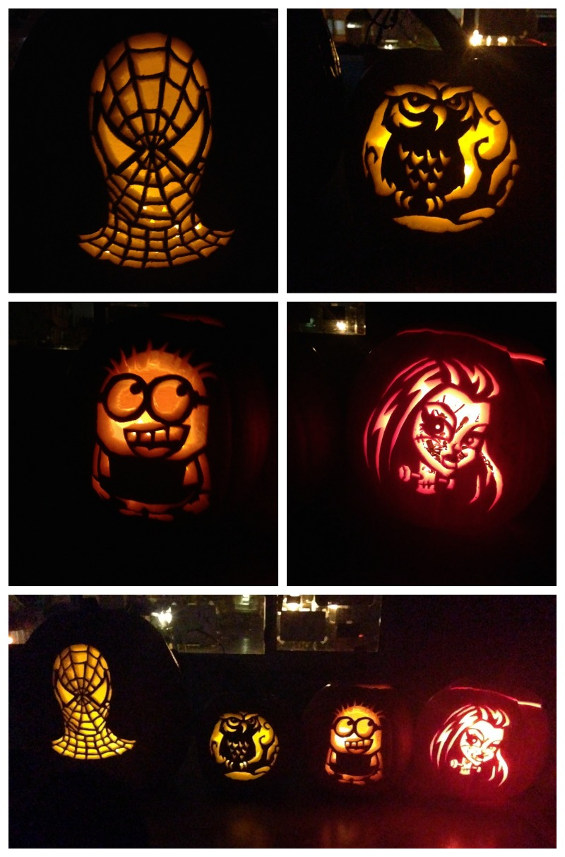 Halloween 2014 Pumpkin Carving Creations from Spiderman by Dave, Owl by Julia. Minion by Crystal, Frankie Stein by Rob