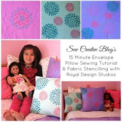 15 Minute Envelope Pillow Sewing Tutorial & Fabric Stencilling with Royal Design Studios